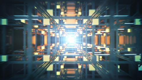 Fast flight through technology construction seamless loop Animation
