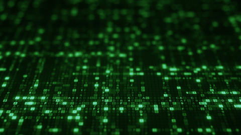 Green HEX digital symbols on computer monitor loopable… Stock Video Footage