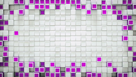 Frame of purple 3D boxes and free space loopable background Animation