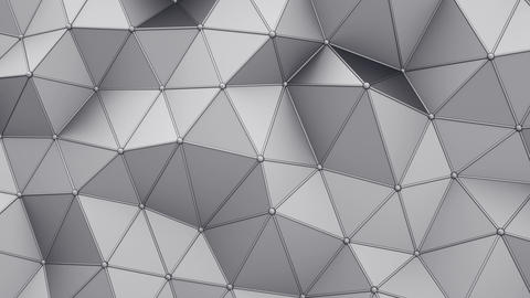 Distorted low poly grey shape with lines on edges loopable 3D render animation Animation