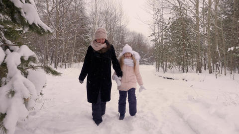 Happy mom mother and daughter join hand and walk through winter forest path pine ビデオ
