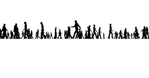 People silhouettes on white, great design for any purposes. Happy silhouette Footage