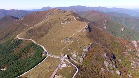 Aerial View of Ganwoljae in Sinbulsan Mountain, Uljugun,... Stock Video Footage