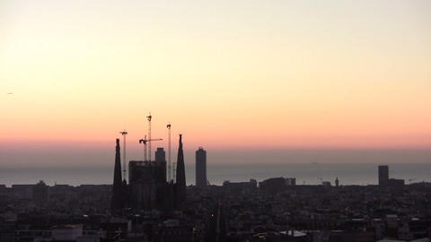Spectacular evening in Barcelona Footage