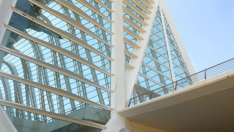 details of the architecture of the city of science and art in Valencia, Spain Footage