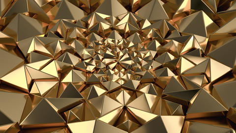 Gold Geometric Triangle Wall waving background. Seamless Loop 4K UHD Live Action