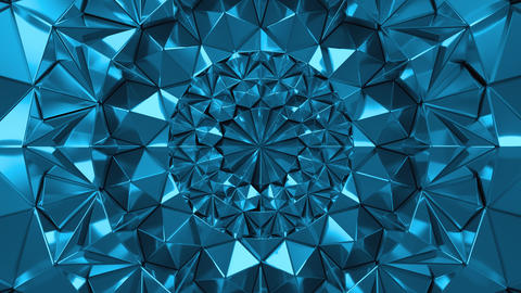 Blue Geometric Triangle Wall waving background. Seamless Loop 4K UHD Live Action