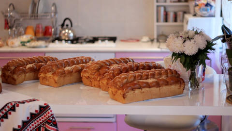 Wedding table with sweet traditional wedding loaf GIF