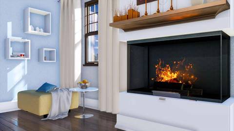 Burning fireplace in modern minimalist living room Animation