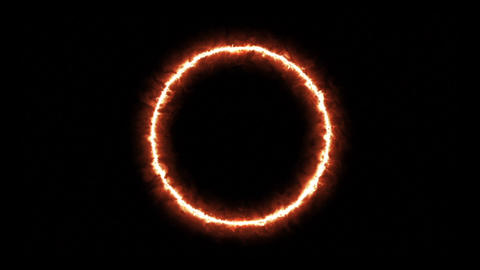 In the center appear a fiery Hoop on a black background HD Live Action