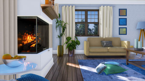 Modern living room interior with wall fireplace 3D Footage