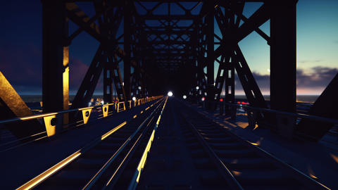 Trains that sweep at sunset on the railway bridge past at high speed GIF