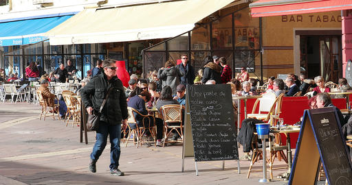 People Eating Outdoors On Terrace Of Restaurants In Old Nice france Live Action