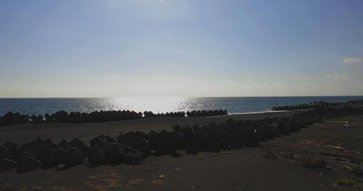 Wave near sandy beach wide shot including copy space Footage