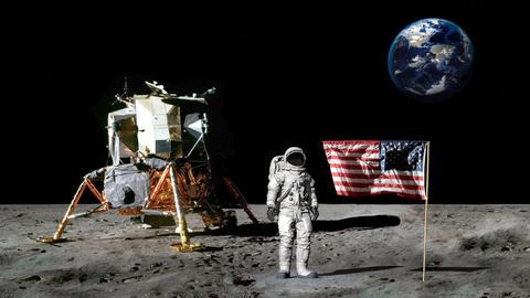 Astronaut walking on the moon and saluting the American flag.. CG Animation GIF