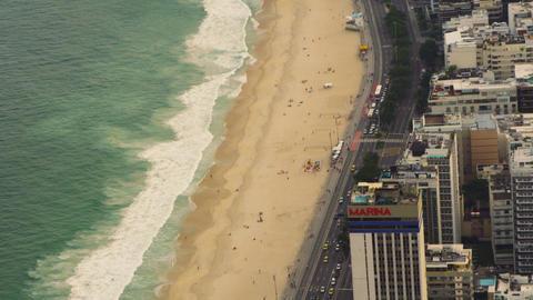 Flight over Rio de Janeiro, Brazil coastline Live Action