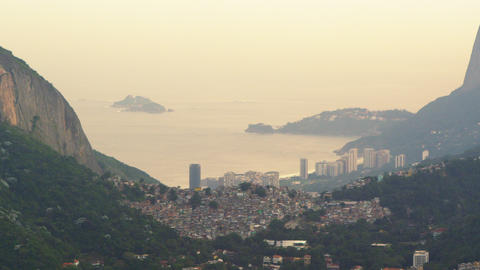 Rio de Janeiro nestled between mountains in Brazil Live Action