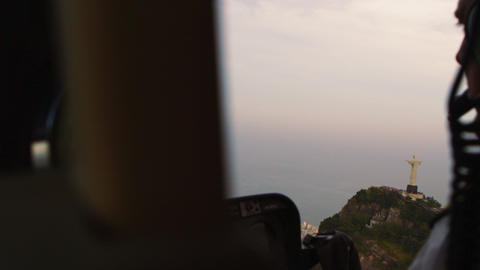 Shooting Christ the Redeemer statue from inside a helicopter in Rio de Janeiro,  Footage