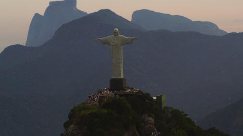 Circling Christ the Redeemer statue on Corcovado Mountain Footage