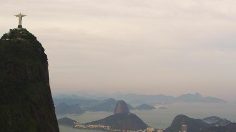 Aerial tracking shot of Rio de Janeiro, Brazil skyline Footage