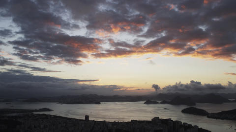 Panning shot of darkening sky over Rio de Janeiro, Brazil Footage