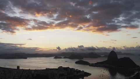 Panning shot of Rio de Janeiro and bay during sunset Footage