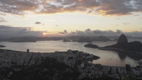 Distant panning shot of Rio de Janeiro, Brazil during sunset Footage