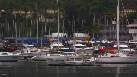 Boats moored along the coastline in Rio de Janeiro, Brazil Footage