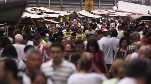 RIO DE JANEIRO, BRAZIL - JUNE 23: Slow motion of throng at market on June 23, 20 Live Action
