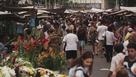 RIO DE JANEIRO, BRAZIL - JUNE 23: Slow motion of crowd at market on June 23, 201 Live Action