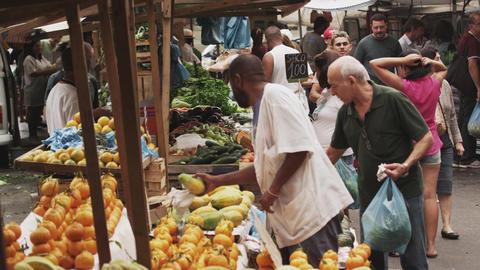 RIO DE JANEIRO, BRAZIL - JUNE 23: Slow motion of buyers at market on June 23, 20 Footage
