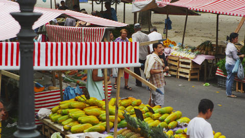 RIO DE JANEIRO, BRAZIL - JUNE 23: Slow motion pan, people at market on June 23,  Footage