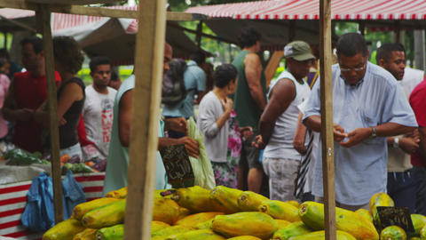 RIO DE JANEIRO, BRAZIL - JUNE 23: Slow motion of people at market on June 23, 20 Footage