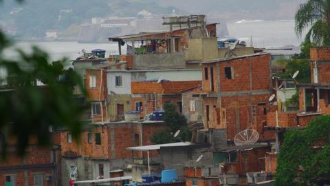 Static long shot of a favela in Rio de Janeiro, Brazil Footage