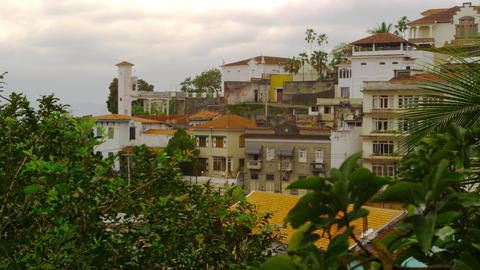 Panning shot of residential condominiums in Rio de Janeiro, Brazil Footage