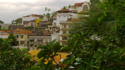 Slow panning shot of a residential community in Rio de Janeiro, Brazil Footage