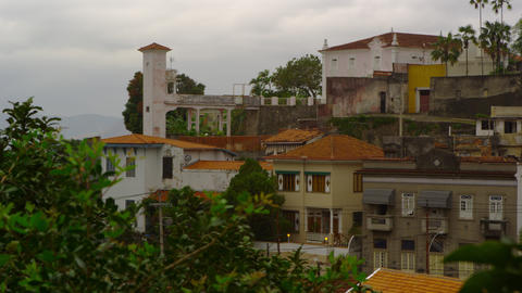 Shot of different types of houses in a neighborhood in Rio de Janeiro, Brazil Footage