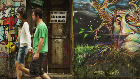 RIO DE JANEIRO, BRAZIL - JUNE 23: Slow motion, wall paintings on June 23, 2013 i Live Action