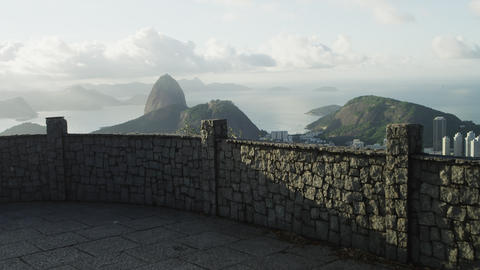 Panning, moving shot of Rio de Janeiro from a lookout point Footage