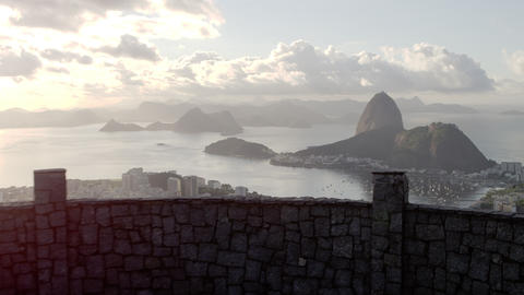 Panning, moving shot on Rio de Janeiro walkway Footage
