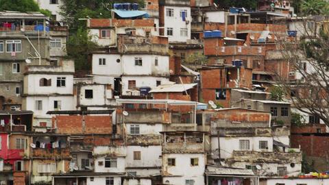 Tilting shot of shantytown in Rio de Janeiro, Brazil Footage