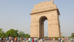 India Gate with people passing,New Delhi,India Footage