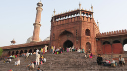 People walking up stairs to Jama mosque,New Delhi,India Footage