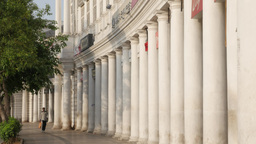 Man walking along Connaught place in morning,New Delhi,India Footage