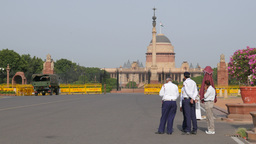 Security Gurads In Front Of President's Estate,New Delhi,India stock footage