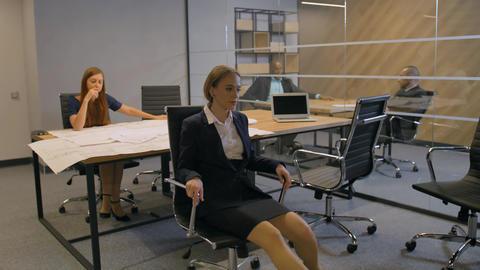 Girl enjoying of job timebreak in a rotating armchair Footage