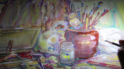 Still life on a large sheet of paper HD 1920x1080p Live Action