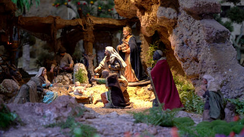 Largest animated nativity scene in South America. Magi arrive to praise Jesus Footage
