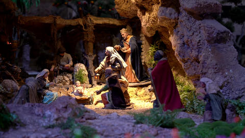 Largest animated nativity scene in South America. Magi arrive to praise Jesus Live Action