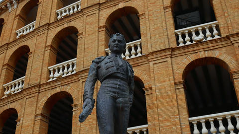 statue of a bullfighter in front of the bullfight arena in Valencia, Spain Footage